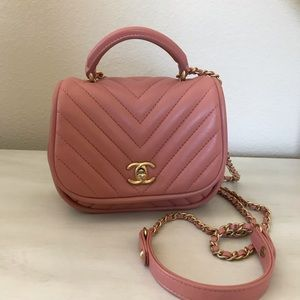 Chanel nude pink chevron crossbody bag
